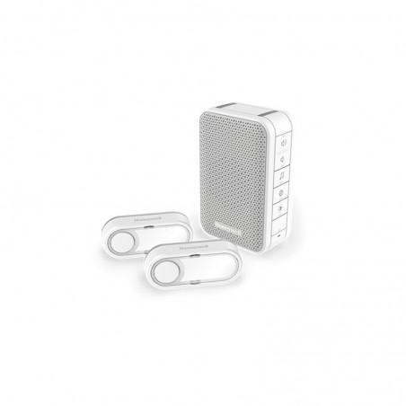 Carillon sans fil mobile honeywell 150m blanc, 6 mélodies et ses 2 boutons poussoirs