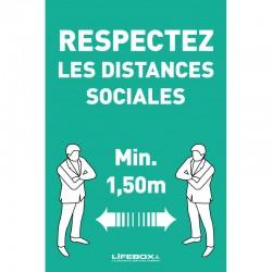 Panneau affichage - respectez les distances sociales