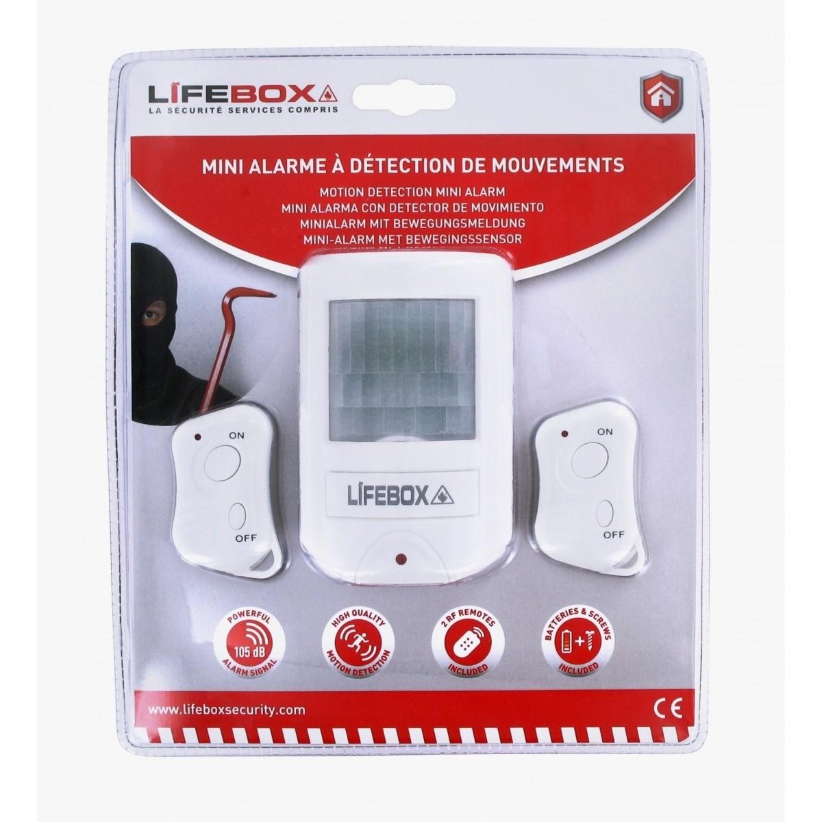mini alarme d tecteur de mouvement et 2 t l commandes lifebox. Black Bedroom Furniture Sets. Home Design Ideas