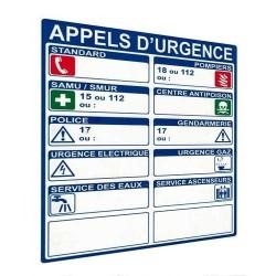 Panneau signalétique d'appels d'urgence