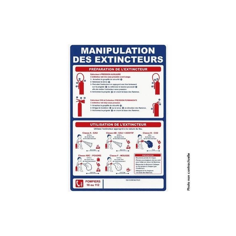 Panneau des manipulations extincteur. vertical