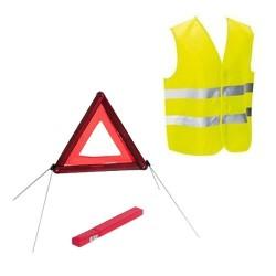 Kit sécurité voiture homologué gilet et triangle de signalisation