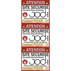 "Lot de 3 autocollants alarme "" site securise"""