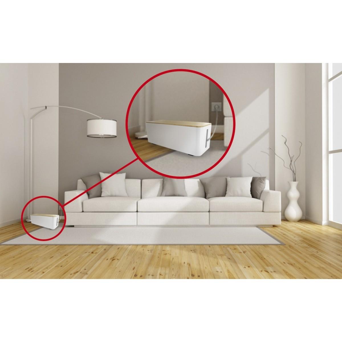 coffret de rangement c bles et multiprises grande taille couvercle bois lifebox. Black Bedroom Furniture Sets. Home Design Ideas
