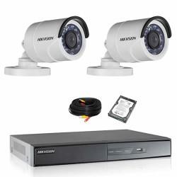 Kit de vidéosurveillance hikvision 2 tubes 1080p turbo hd avec disque dur