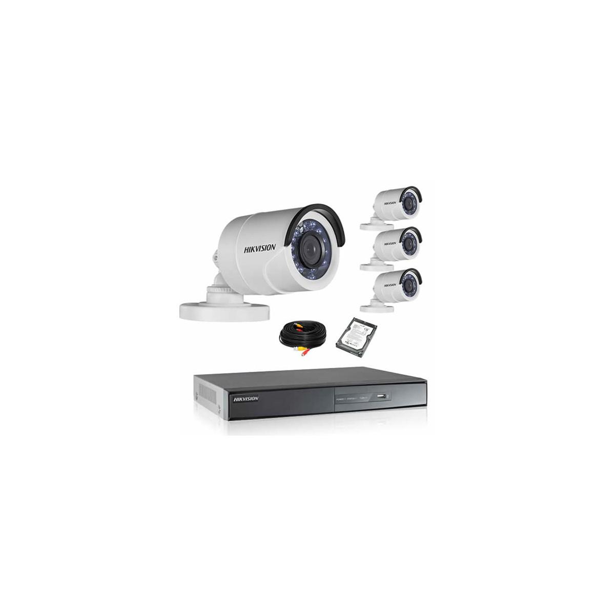 Kit de vidéosurveillance hikvision 4 tubes 1080p turbo hd avec disque dur